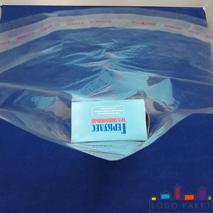 пакет полипропиленовый с перфорацией, клапаном и донной складкой прозрачный