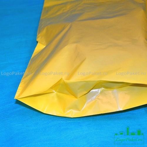 пример донной складки на желтом пакете