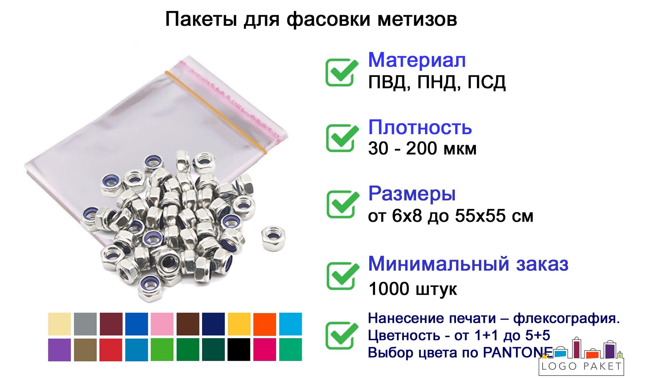 Пакеты для метизов инфографика