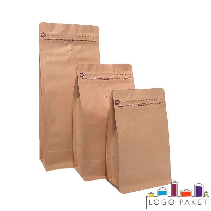 Крафт-пакет для кофе с боковыми складками (фальцами) и клапаном дегазации