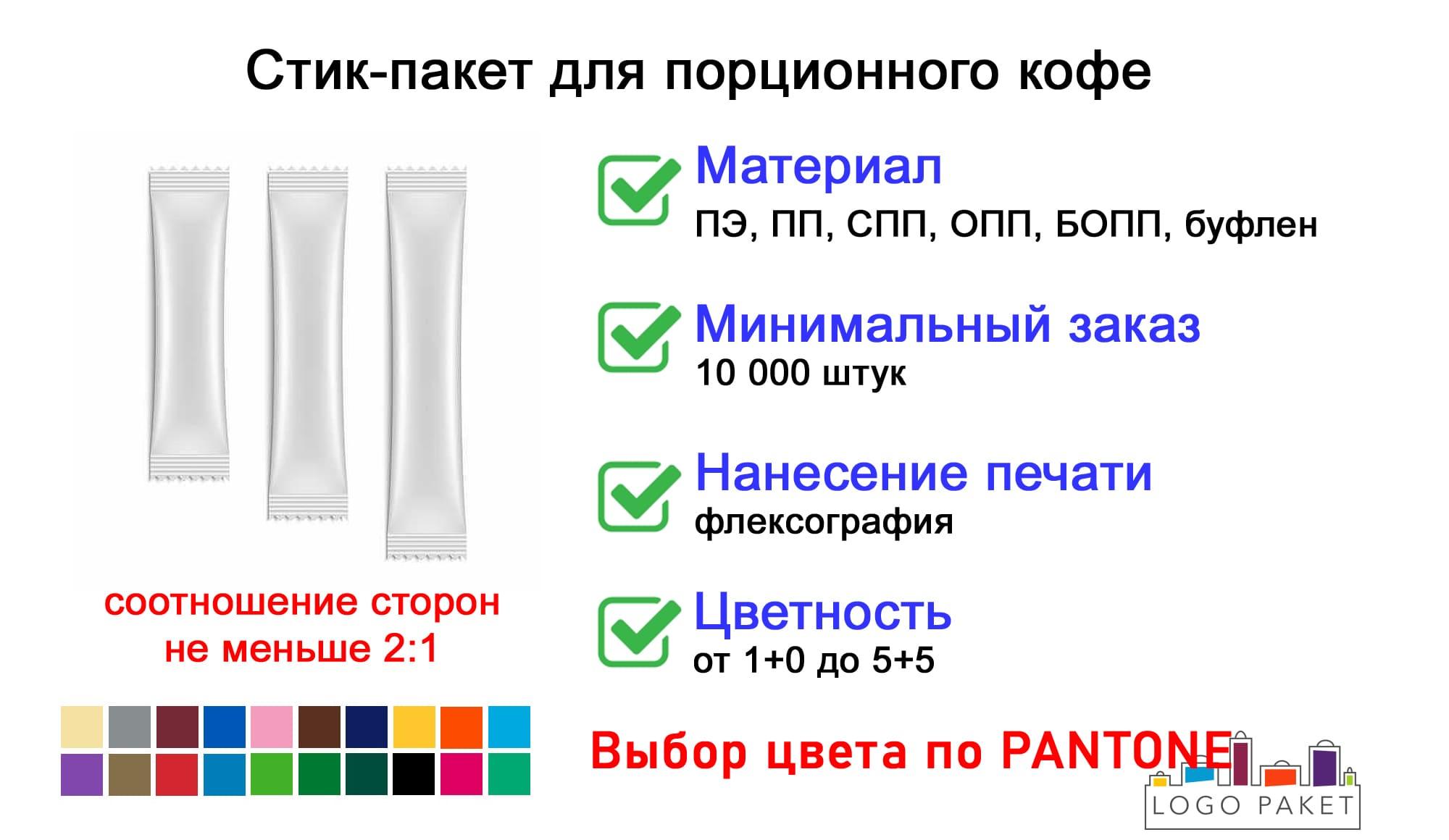 Стик пакет для кофе инфографика