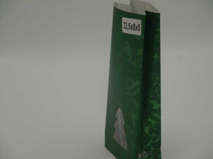 крафт пакет зеленый вид сбоку