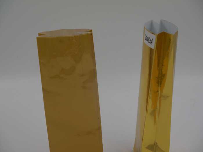 золотистый пакет крафт вид сбоку
