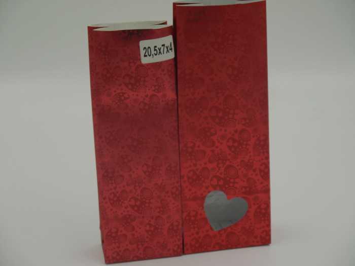 пакет  крафт c окошком в виде сердечка