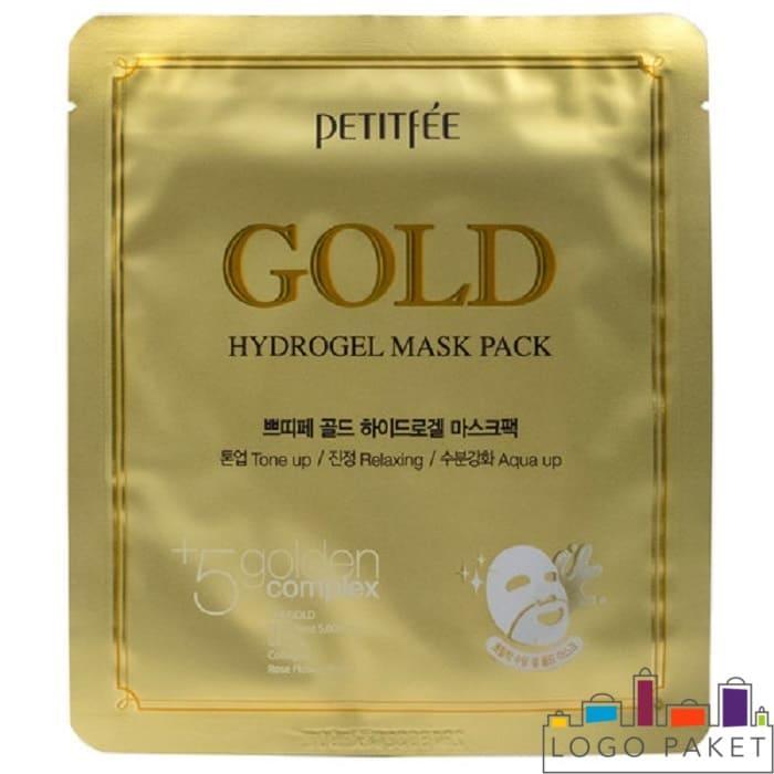 Сашет-пакет металлизированный золотистый с печатью для фасовки масок для лица