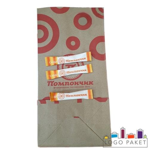 Бумажные пакетики для сахара с логотипом
