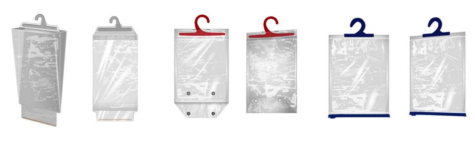 Варианты пакетов с приваренным пластиковым крючком