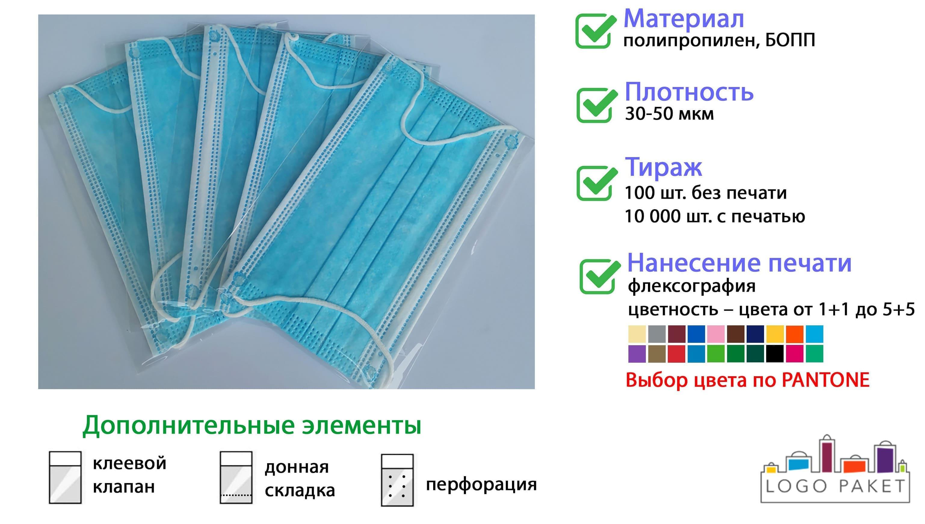 Пакеты для медицинских масок под запайку инфографика