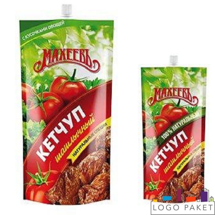 Флексопечать на дой пак пакетах с центральным штуцером для кетчупа