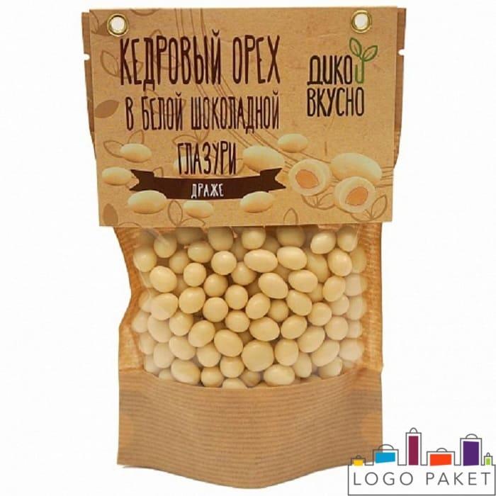 Пакеты для орехов на фото Кедровые орехи в белой шоколадной глазури в пакете дой пак с отверстиями укрепленные люверсами