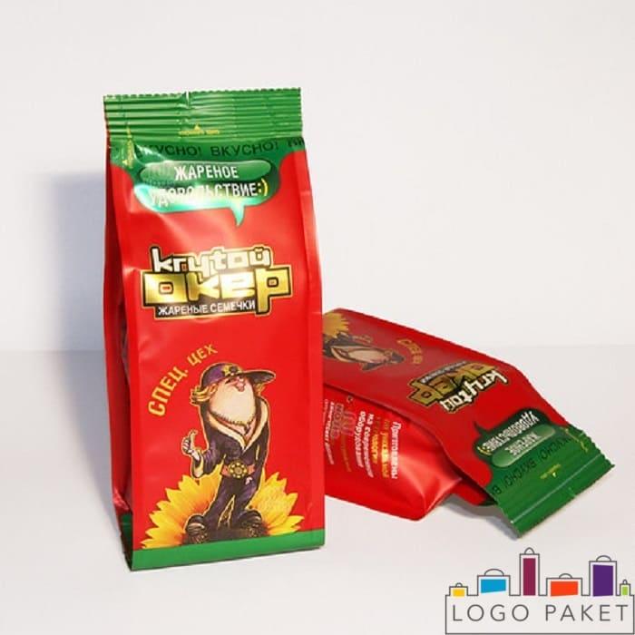 Пакеты для семечек с боковыми фальцами с печатью