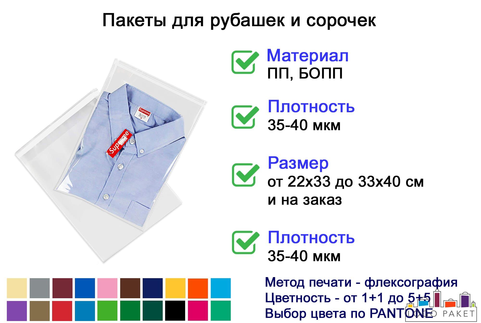 Пакеты для рубашек инфографика