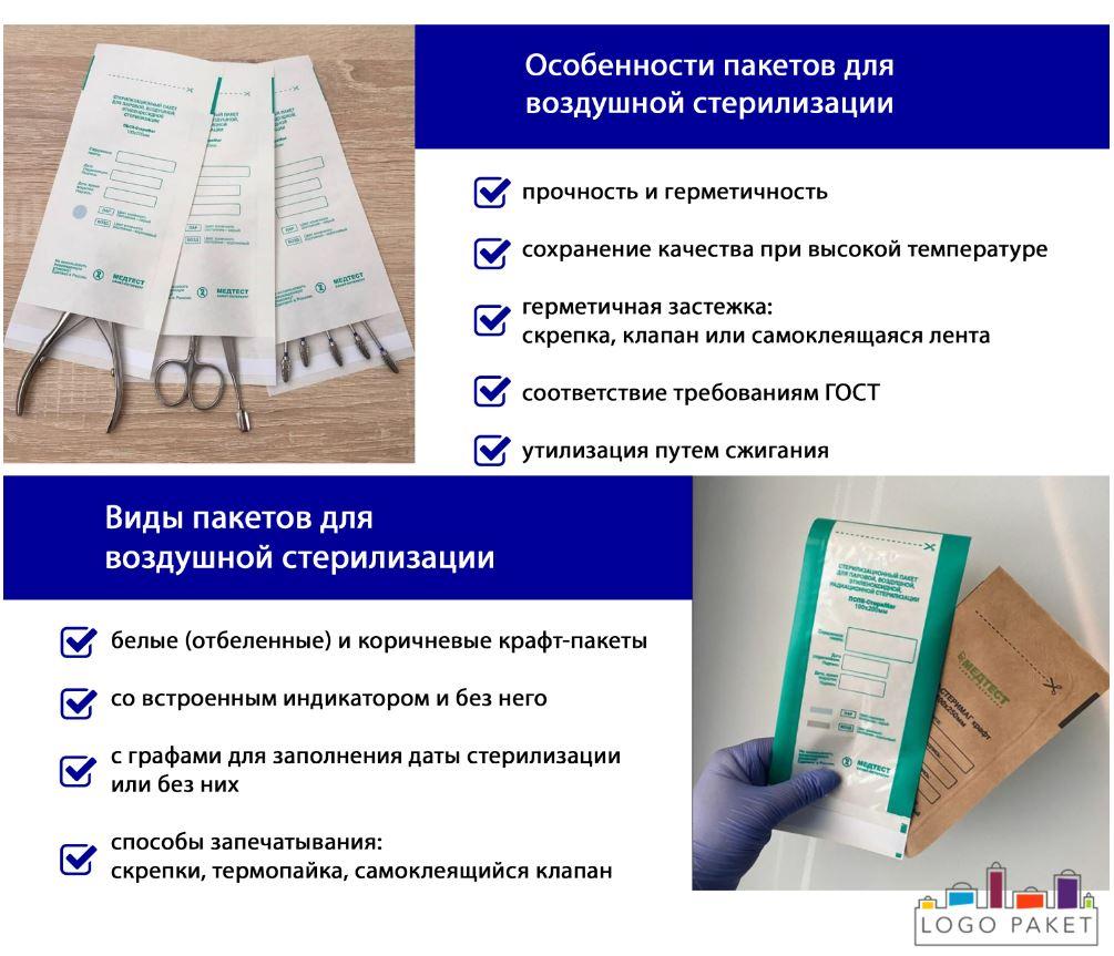Пакеты для воздушной стерилизации инфографика