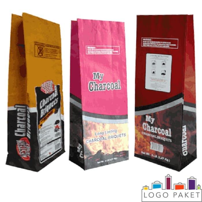 Пакеты из крафт бумаги, предназначенные для фасовки угля с печатью методом флексографии