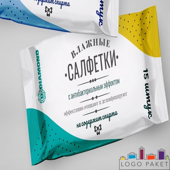 Печать трехшовном пакетике для фасовки влажных салфеток