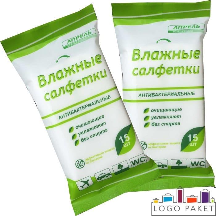 Упаковка для влажный антибактериальных салфеток с печатью