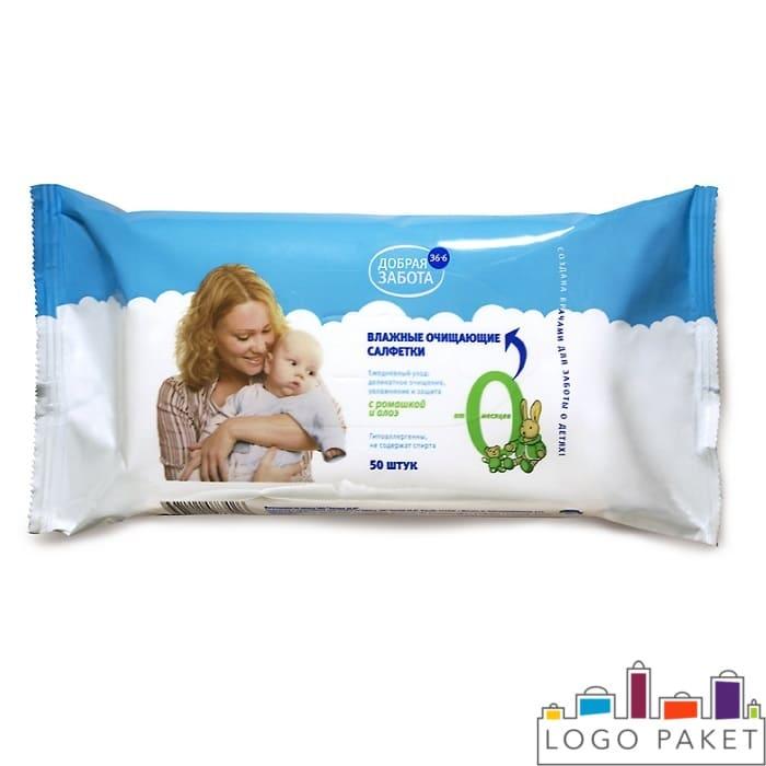 Упаковка для детских влажных салфеток с печатью