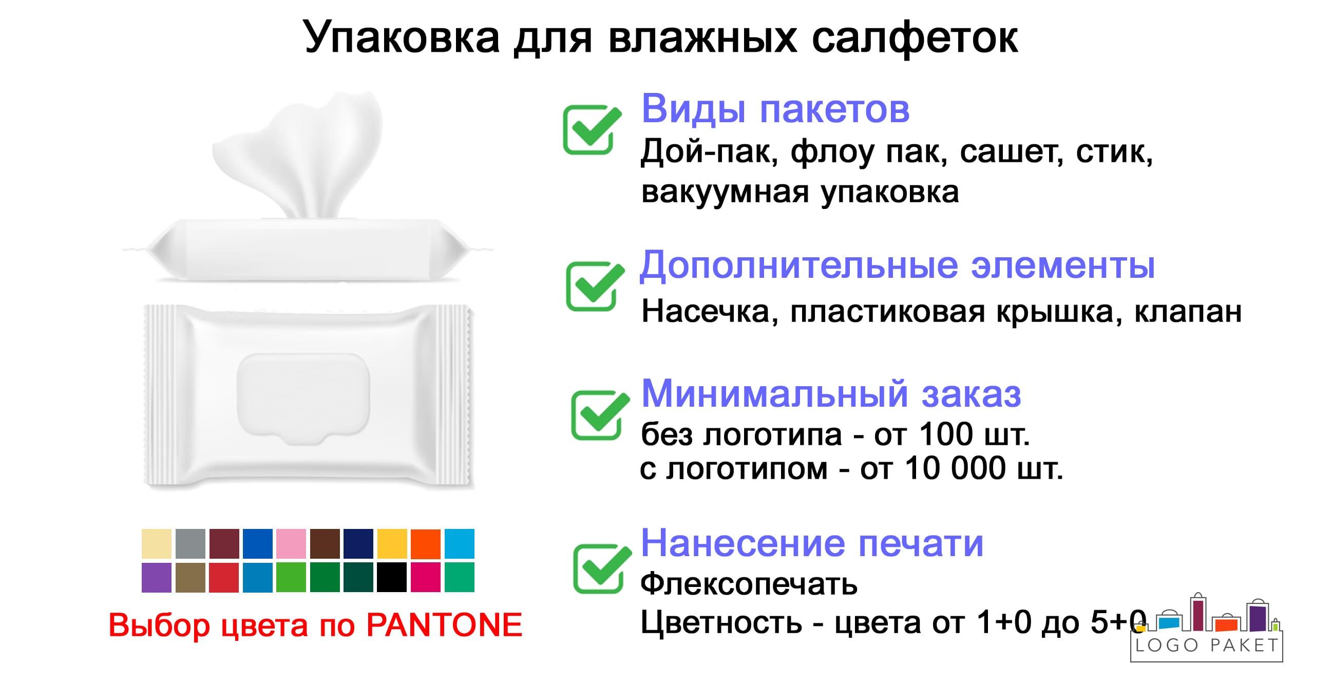 Упаковка для влажных салфеток инфографика