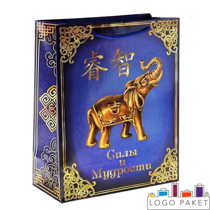 Подарочный пакет с рисунком китайского слона