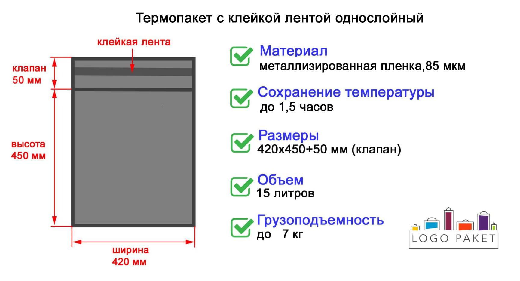 Термопакет с клейкой лентой однослойный инфографика