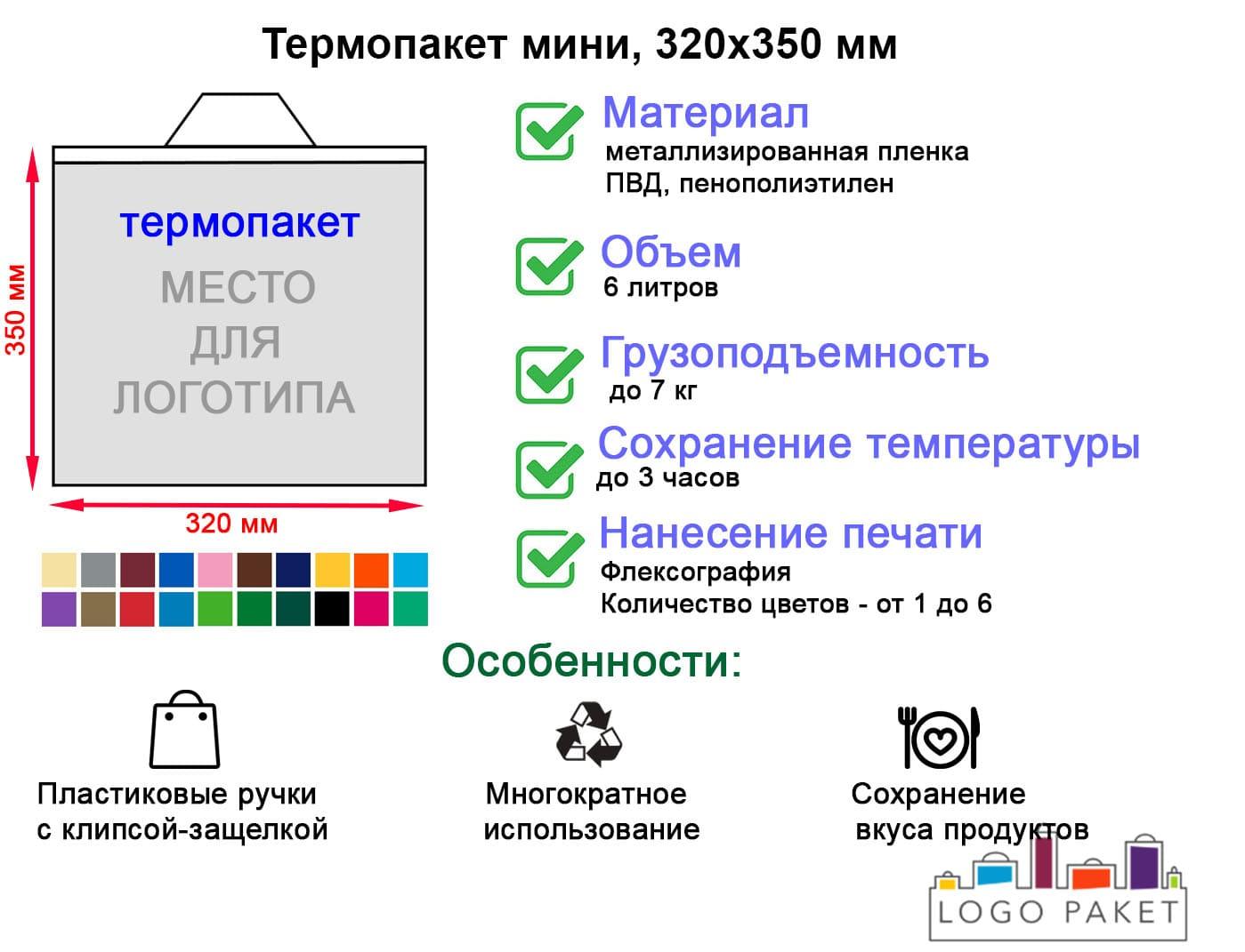 Термопакет Мини, 320х350 мм инфографика