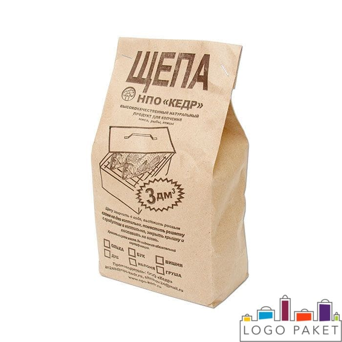 Крафт пакет для щепок и печать на крафт-пакетах