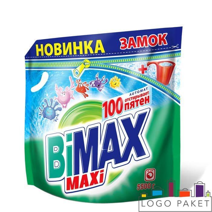 Пакет для стирального порошка дой пак с печатью Bimax