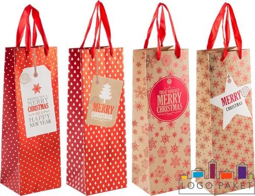 Пакеты для подарков под бутылку