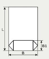 Длина упаковки L, ширина прямоугольного дна В1 и ширина пакета В