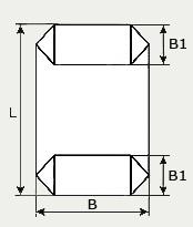 Длина упаковки L, ширина прямоугольного дна В1 и ширина пакета В на чертеже